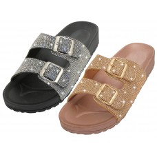"W977L-A Wholesale Woman's ""EasyUSA"" Double Buckle With Rhinestone Upper Sandals (Asst. Rose Gold & Silver)"