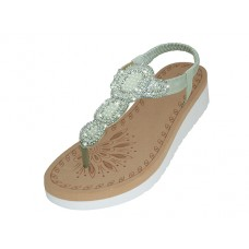 "W9802L-S - Wholesale Women's ""EasyUSA"" Super Soft Rhinestone Upper Sandals (*Silver Color )"