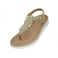 "W9803L-RG - Wholesale Women's ""EasyUSA"" Super Soft Rhinestone Upper Sandals ( *Rose Gold Color )"