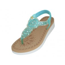 "W9803L-X - Wholesale Women's ""EasyUSA"" Super Soft Rhinestone Upper Sandals ( *Blue Color )"
