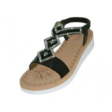 "W9805L-B -  Wholesale Women's ""EasyUSA"" Super Soft Rhinestone Upper Sandals (*Black Color)"