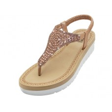 "W9807L-RG - Wholesale Women's ""EasyUSA"" Super Soft Rhinestone Upper Sandals (*Rose Gold Color )"