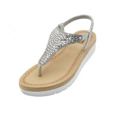 "W9807L-S - Wholesale Women's ""EasyUSA"" Super Soft Rhinestone Upper Sandals (*Silver Color )"