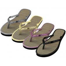 W9988L-A - Wholesale Women's Glitter Straw Insole Flip Flops ( *Asst. Gold Silver Black & Rose Gold )