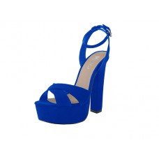 "YOLANDA-01-BLUE Wholesale Women's ""Mixx Shuz"" High Heel Ankle Strip Sandals ( *Blue Color )"