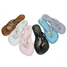 S3300L-A - Wholesale EasyUSA Women's Embroidery Sequin Flip Flops ( *Asst. Color ) *Close Out $1.75/Pr. Case $63.00